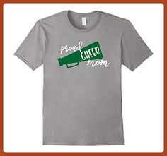 Mens Proud Cheer Mom T-Shirt Green Megaphone Small Slate - Relatives and family shirts (*Partner-Link)