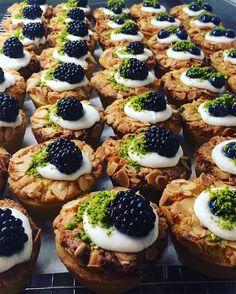 Today's Bakewell tarts were baked very well #bakewell #mixedberries #blueberries #blackberries #jam #almond #welovefood #bricklane #franzeandevans #redchurchstreet #shoreditch