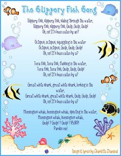"""Large group: Students will be able to sing and repeat """"the slippery fish"""" song. They will develop fine motor coordination Kindergarten Songs, Preschool Music, Preschool Classroom, Preschool Activities, Montessori Elementary, Montessori Education, Beach Activities, Preschool Age, Therapy Activities"""