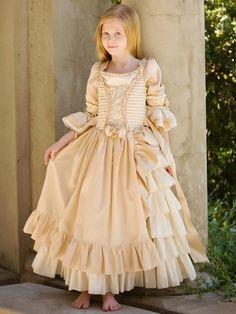 Ivory/ Gold Dress w/ Lace Up Bodice & Circular Flounce Sleeves