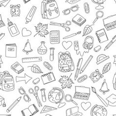 Vector seamless pattern with doodle school tools. Hand drawn outline school icons, isolated on white. Design for fashion print, wrapping, web backgrounds, school or education theme.