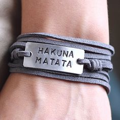 HAKUNA MATATA Quote Bracelet,Personalized Leather Wrap Bracelet, Leather Bracelet, Hand Stamped Bracelet, Father's Day Gift