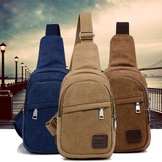 Casual Canvas Chest Bag Retro Solid Sling Bag Women Men Unisex Crossbody Bag