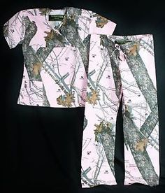 Mossy Oak Pink Camo Scrub Set Medical scrubs camoflauge