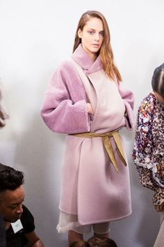 Marshmallow-pink, belted coat at Chloé AW14 PFW. More images at: http://www.dazeddigital.com/fashionweek/womenswear/aw14