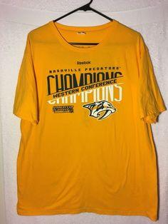 296076aeb1e76 Nashville Predators T-Shirt XL Western Conference Champions Stanley Cup  2017