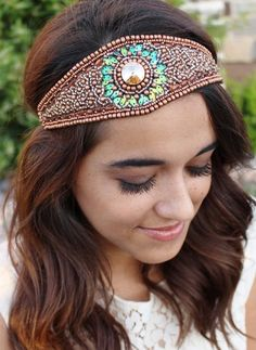 Pink Pewter - EVERLY Gold Fashion Stretch Headband. This  hair accessory features a wide band covered in gold beading with a green-accented sunburst center. Hand Done.
