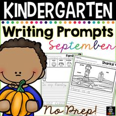 September Writing Prompts for Kindergarten to Second Grade Distance Learning Second Grade Writing Prompts, Kindergarten Writing Prompts, Writing Prompts Funny, Writing Prompts For Kids, Writing Ideas, Writing Lessons, Kindergarten Worksheets, Kindergarten Classroom, Writing Skills
