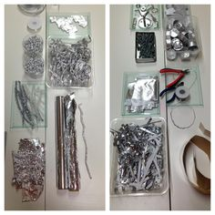Provocation using silvery materials... Steel wire, foil, screws, tea light cups, pipe cleaners etc. .. Inspiring in a slightly unexpected way -  Reggio Emilia inspirerte pedagoger i Norge ≈≈