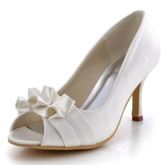 EP2108 Ivory Peep Toe Pumps Ruffles Stiletto Heel Satin Wedding Party Shoes