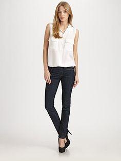 AG Adriano Goldschmied - Elastic Waistband Denim Leggings - Saks.com (skinny jeans that stretch with you -- genius)