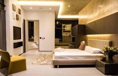 This sumptuous modern residence was designed by Nico Van Der Meulen Architects, located in Johannesburg, Bedfordview, South Africa. Master Suite, Bedroom Sets, Bedroom Decor, Indoor Outdoor, Lounge, Architect House, Facade House, Modern House Design, South Africa