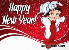 Happy New Year! MORE Betty Boop Images http://bettybooppicturesarchive.blogspot.com/  ~And on Facebook~ https://www.facebook.com/bettybooppictures   Mae West style Betty Boop #Holiday #Greeting #winter