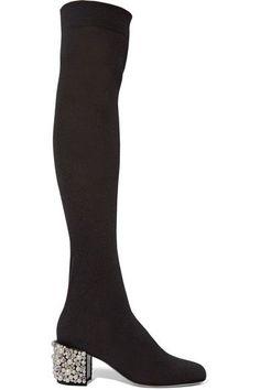 René Caovilla - Embellished Stretch-knit Over-the-knee Boots - Black