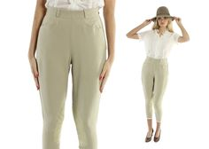 $64, Vintage 60s Equetrian Jodhpurs Riding Pants Tan Leather High Waisted Trousers 1960s XS by ScarletFury on Etsy