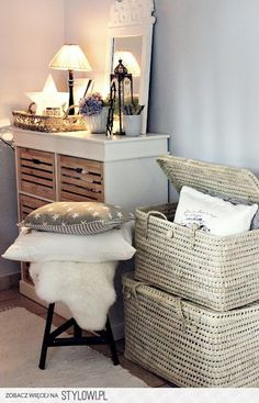 Try Stacking Wicker Baskets For Extra Storage.