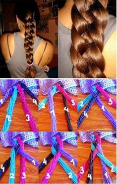 4 Strand Braid Easy 4 strand braid Hairstyles for those of us with super long, thick, hair!Easy 4 strand braid Hairstyles for those of us with super long, thick, hair! Pretty Hairstyles, Girl Hairstyles, Braided Hairstyles, Wedding Hairstyles, Updo Hairstyle, Braided Updo, Braided Bread, School Hairstyles, Funky Hairstyles