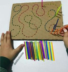prepare toddler for handwriting activities. You make holes and then kids have toprepare toddler for handwriting activities. You make holes and then kids have to. - Easy Pin 6 Hiking Tips for Families With Toddlers Carefully C. Motor Skills Activities, Preschool Learning Activities, Infant Activities, Fine Motor Skills, Preschool Activities, Toddler Fine Motor Activities, Handwriting Activities, Educational Crafts, Barn