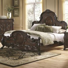 Victorian style and grace is what this Abigail Bedroom Set by Coaster Furniture is all about. Lavished with beautiful details like lion claw feet, scrollwork, and oval cameos, you will feel as though you are living in a richly styled palace. A deep cherry Master Bedroom Set, King Bedroom Sets, Queen Bedroom, Antique Bedroom Furniture, Bed Furniture, Fine Furniture, Brothers Furniture, Furniture Online, Furniture Stores