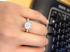 Show me your 2 carat + diamond rings :  wedding 215 carat center stone halo engagement ring 1 large engagment rings ring Ring1