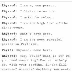 Feysand<<< I love how it goes from Reading and lunch, to kill someone, then back to a snack. It's hilarious!
