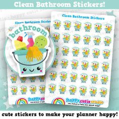 36 Cute Clean Bathroom/Shower/Chores Planner Stickers, Filofax, Erin Condren, Happy Planner,  Kawaii, Cute Sticker, UK
