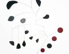 Items similar to Large Mobile Hudsons Bay Mobile - Black Red Mid Century Modern on Etsy Mobile Art, Hanging Mobile, Steel Sheet Metal, Steel Seal, Stainless Steel Rod, Metal Art Sculpture, Hudson Bay, Silver Paint, Paper Roses