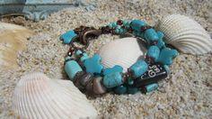 Boho Turquoise  Copper beaded Bracelet by BeadDazzlers on Etsy, $36.00