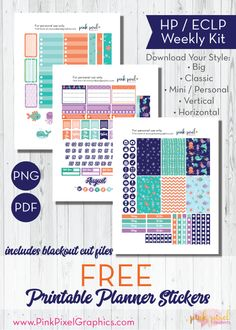 Download free planner printable stickers for Happy Planner, Erin Condren (ECLP) and more. Under the Sea planner sticker printables. See more at www.pinkpixelgraphics.com