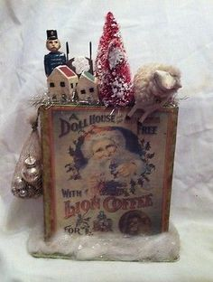RETIRED Antique Vintage GERMAN STYLE Bethany Lowe Christmas Santa PUTZ FIGURE.  Sold with the Bethany Lowe antique Santa.
