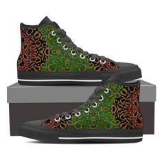 Green Blue Cheetah Pattern Canvas Hightop Shoes