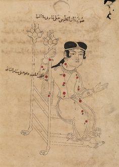 Illustration from  'Book of Fixed Stars' (Kitāb suwar al-kawākib al-ṯābita) by 'Abd al-Rahman ibn 'Umar al-Ṣūfī, dated 1009-10 (Bodleian Library, Oxford, manuscript Marsh 144)  Page 101 - Cassiopeia  Bodleian manuscript Marsh 144