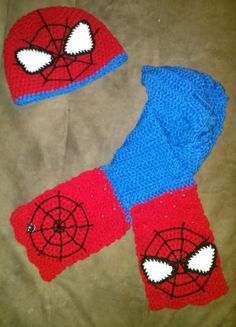 SpiderMan Beanie and Scarf Set by CrochetbyApril414 on Etsy, $38.00