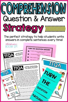 Comprehension Question and Answer Strategy for Elementary Classrooms Improve Reading Comprehension, Comprehension Activities, Reading Fluency, Comprehension Questions, Reading Strategies, Teaching Reading, Writing Activities, Teaching Spanish, Guided Reading