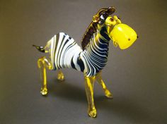 Blown Glass Zebra Miniature, Sculpture, Figurine, Lampwork