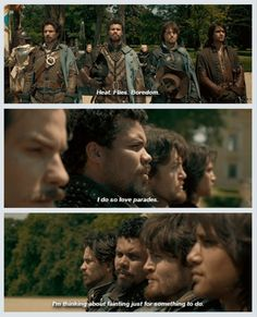 """Heat. Flies. Boredom. I do so love parades. I'm thinking about fainting just for something to do."" - Porthos"