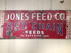 Vintage Advertising Red Enamel Feed Company Sign - $785