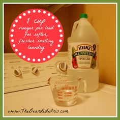 A little vinegar goes a long way. Use it for your towels, your workout clothes, and anything else that's a little sour-smelling. Add it at the beginning of the wash so your clothes don't smell vinegar-y at the end.|  Laundry Hacks