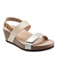 Metallic Hart Leather Wedge Sandal