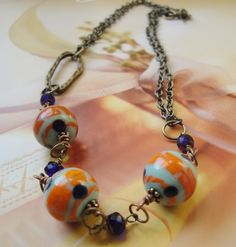 Vintage Glass Beads And Chain Necklace by OceanaireDreamer on Etsy, $20.00