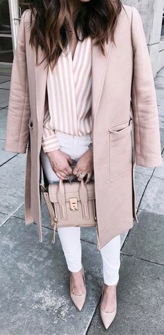blush pink fashion trend coat + shirt + bag + heels + pants