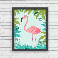 Pink Flamingo art print from Lucy Darling. Palm trees. Smiling bird. Soy based inks. Nursery decor