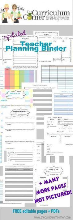 Binder Pages for the Organized Teacher | Schule, Kind und Organisation