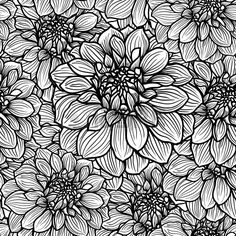 Seamless background with hand drawn Dahlia flower  Black and white, vector illustration