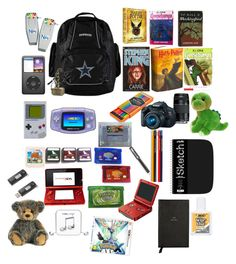 """""""Rider's bag of stuff he's collected over the years (oc)"""" by tristajeager on Polyvore featuring FOSSIL, Smythson, Parker, Eos, Nintendo, Happy Plugs, Sandisk and Wite"""