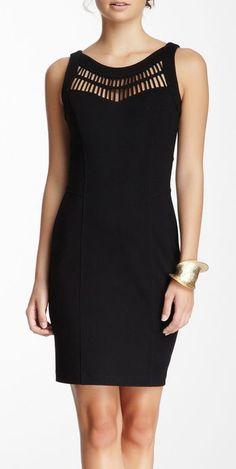 CLUNY By Designer Cynthia Steffe Silk Stripped Cutout Ponte Dress