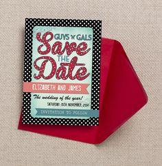Gorgeous retro, rockabilly themed Save the Dates with a rock n roll style, aqua (or turquoise), red and black colour scheme with cool polka dots and fun fonts. Motown/1950s theme. Order as an instant digital PDF printable, cards or magnets. Customise/Personalise online with live previews as you type. All our invites and wedding stationery designs have matching items including invitations, RSVPs and more. Bespoke work also undertaken.