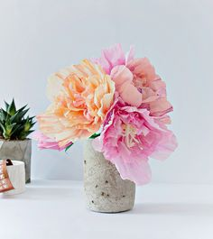 How to make paper peonies and a concrete vase