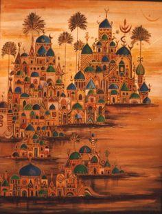 Widad Alorfily Fantasy Kunst, Fantasy Art, Art And Illustration, Arabian Art, Islamic Art Pattern, Turkish Art, Egyptian Art, Calligraphy Art, Modern Art
