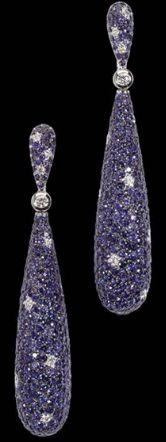 De Grisogono earrings with 782 blue sapphires and 24 white diamonds - squint!